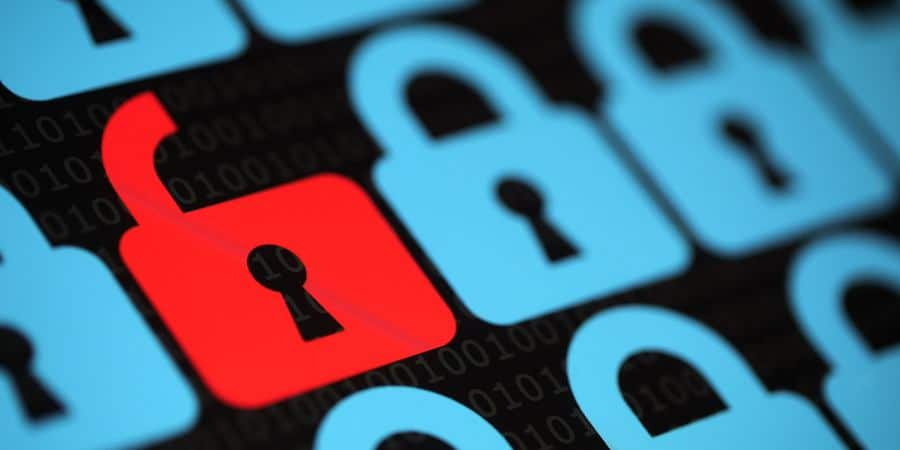 Internet security concept open red padlock virus or unsecured with threat of hacking.