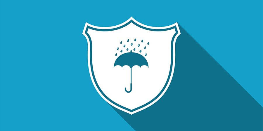 Shield and umbrella security concept.