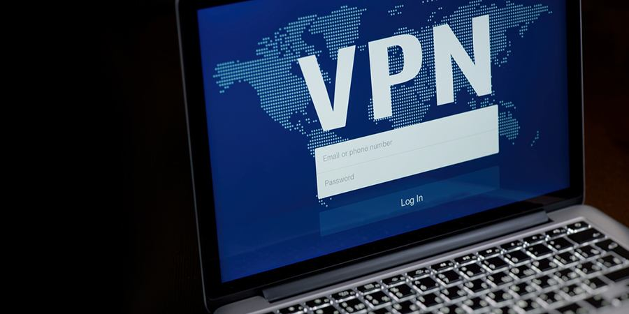 VPN login on laptop.