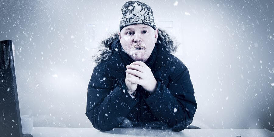 Office worker with mustache in cold snow.
