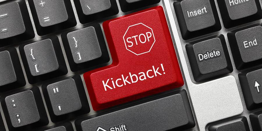 Close-up view on kickback key on keyboard.