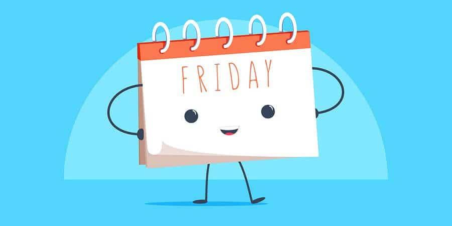 Happy Friday calendar cartoon mascot character smiling.